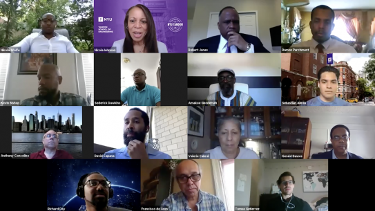 zoom screenshot of black and latino faculty, alumni and students