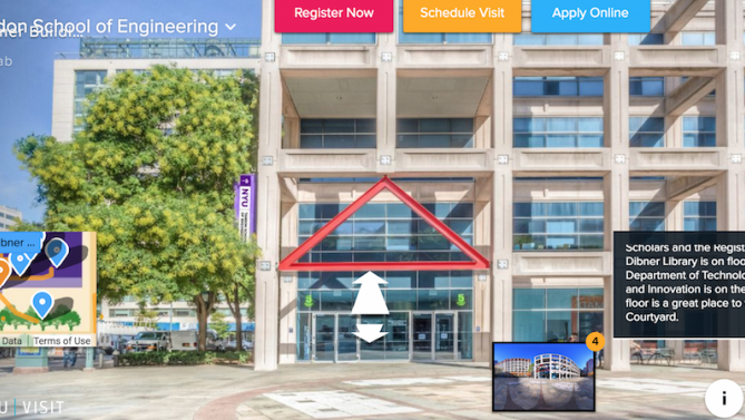 campus building in virtual tour